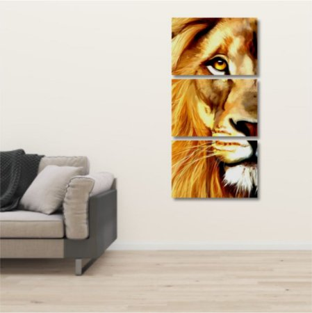 Kit 3 Placas Mosaico Leão Dourado Estilo Pintura