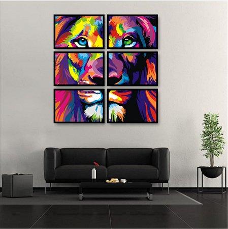 6 Quadros Leão Colorido Mosaico Moldura Colors Lion