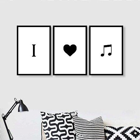 3 Quadros Eu amo Musica I love music