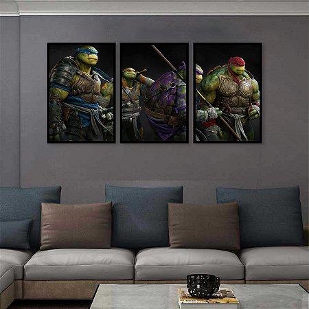 Kit 3 Quadros Tartaruga Ninja Michelangelo, Raphael, Donatello e Leonardo