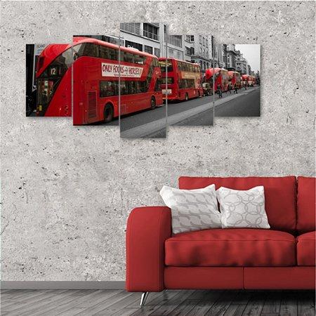 Quadro 5 Peça Ônibus Vermelho Routemaster London Big Bus Red