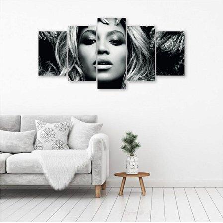 Quadro Decorativo 5 peças Beyoncé Cantora Artista 129x64