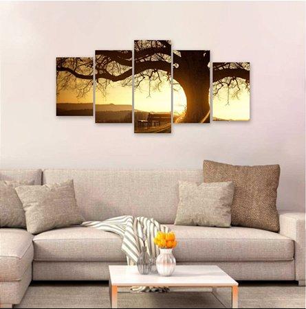 Quadro 5 peças Árvore de Galhos Secos Por Do Sol 129x64