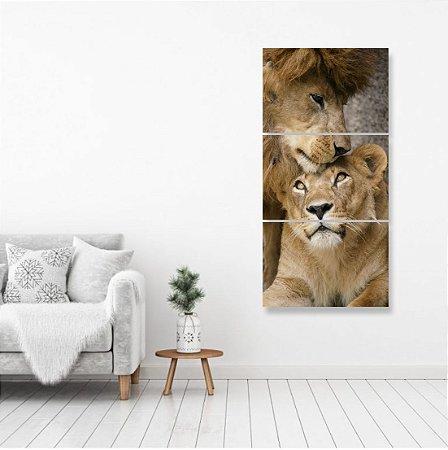 kit 3 Placas Leão é Leoa Lion Selva Natureza Rei da Selva