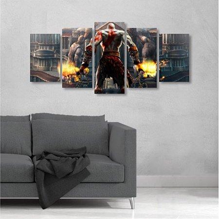 Quadro Grande 5 peças God of War II Kratos 129x64 cm