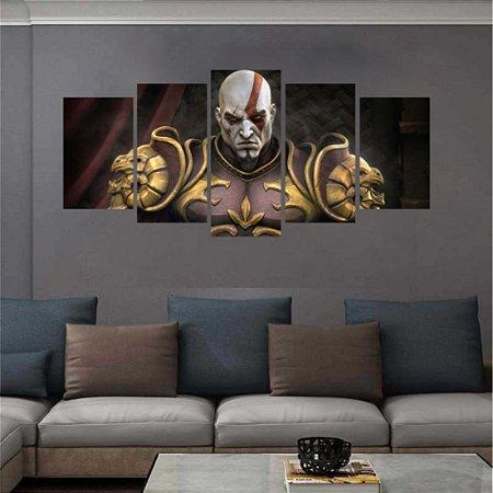 Quadro Mosaico 5 peças Kratos god of war 2 Deus Da Guerra 129x64