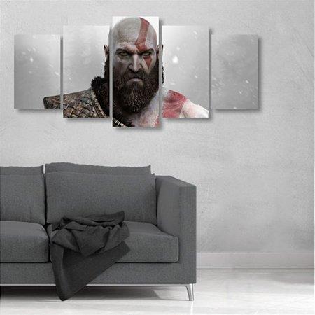Quadro Mosaico 5 peças Kratos god of war Deus Da Guerra