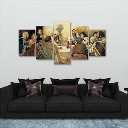 Quadro 5 peças Santa Ceia Jesus Vinho 129x64cm
