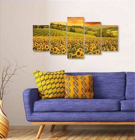 Quadro 5 peças Girassol Amarelo Flor Por do Sol Paisagem