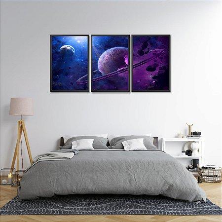Kit 3 Quadros Espaço Sideral Paisagem Universo 02