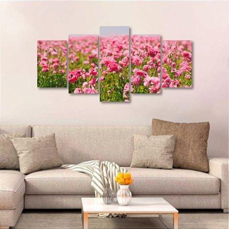 Quadro 5 Peças Mosaico Tulipas Rosas Plantação Tulipa Grande