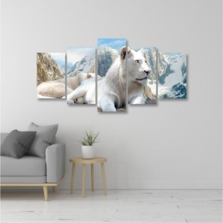 Quadro 5 peças Leão da neve Rei da selva Animal Montanha Neve
