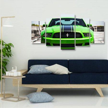 Quadro 5 Peças Mosaico Car Ford Mustang Verde limão Carro Esportivo Boss 302