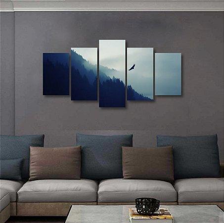 Quadro Grande 5 peças Montanha Colina Neblina Pássaro