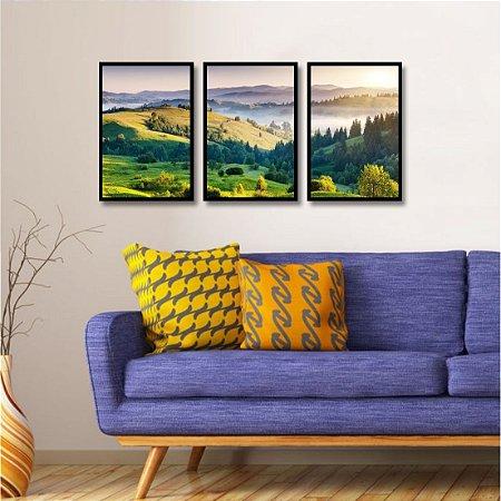 3 Quadros Montanha Plantas Natureza Sol Paisagem Árvore