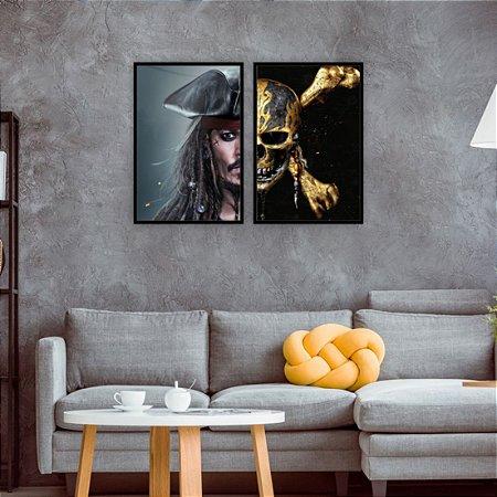kit 2 quadros Capitão Jack Sparrow Piratas do Caribe Pirates of the Caribbean
