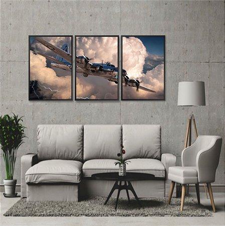 Kit 3 Quadros Avião Boeing B-17 Flying Bombardeiro