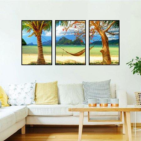 kit 3 quadros Praia Coqueiro Ilha Areia Montanha Mar Paisagem