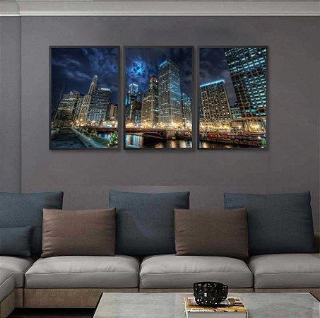 KIt 3 Quadros Chicago City Prédios Noite Céu Nuvens luzes