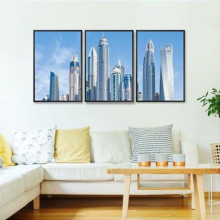 Kit 3 quadros Dubai City Prédio Cayan Tower Arranha-céus