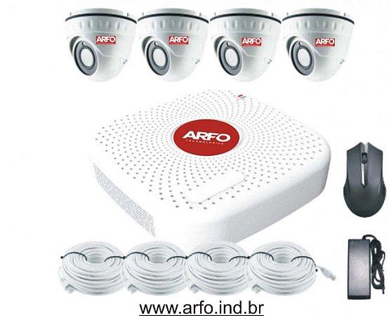 KIT NVR POE ARFO AR-3604, PARA 9 CANAIS, 4 POE, 5 ETHERNET COM SWITCH POE EMBUTIDO + 4 CÂMERAS ARFO AR-LIRDN-S400 4MP INT COM POE EMBUTIDO