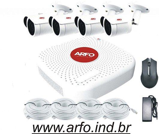 KIT NVR POE ARFO  AR-3604, PARA 9 CANAIS, 4 POE, 5 ETHERNET COM SWITCH POE EMBUTIDO + 4 CÂMERAS ARFO BULLET AR-400 4MP INT/EXT COM POE EMBUTIDO