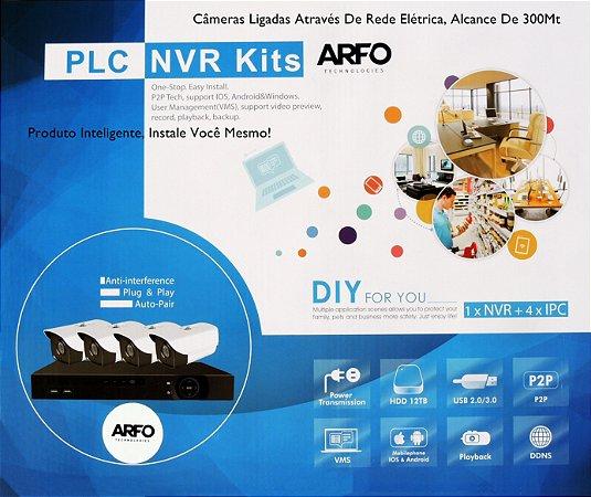 KIT NVR PLC ARFO AR-2004A SMART DIY (INSTALE VOCE MESMO), 9 Canais (4 Canais PLC/Ip cabo + 5 Ip cabo), Com 4 Câmeras PLC S200P, POWER LINE CONECTION