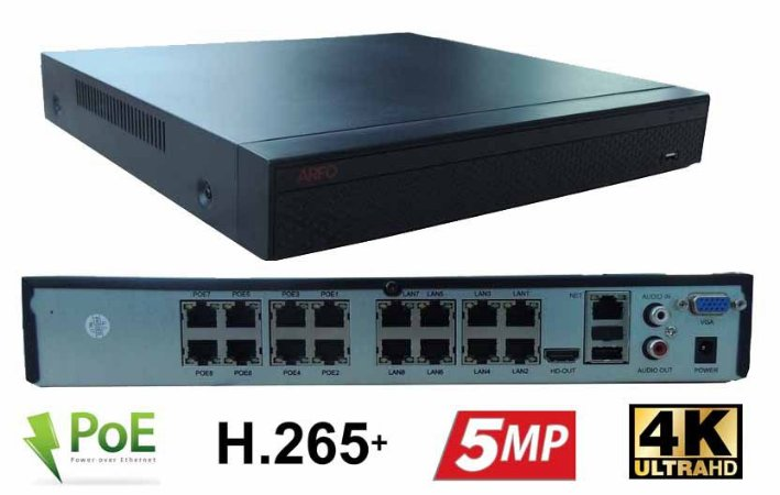 NVR POE ARFO AR-3608 SMART DIY (INSTALE VOCE MESMO), Modelo AR-3608DbP, 16 Canais até 5Mp (8 Canais Poe in side + 8 Ip cabo), Switch Poe Embutido De 8 Portas