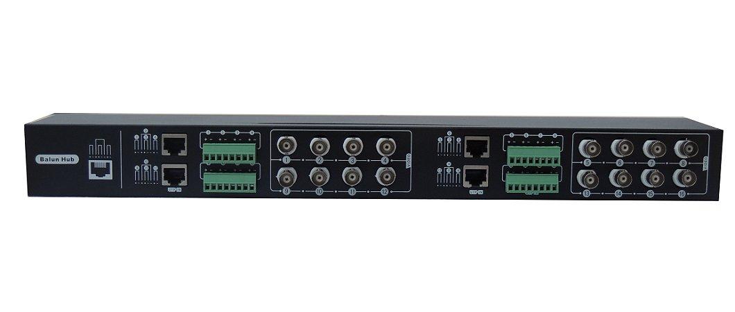 BALUN COM 16 PORTAS ARFO AR-216 - Recebe e transmite sinais de vídeo por cabo UTP sem usar fonte de alimentação
