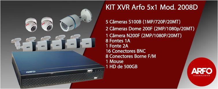 Kit Xvr 5x1 Arfo Mod. 2008D FullHd com 5 Câmeras s100b/720p, 20mt, 2 Câm. Dome 200F 20mt , 1080p, 2mp 1 Câm. n200F 1080p, 20mt, 8 Fonte 1a, 1 fonte 2a, Mouse conectores Disco 500Gb