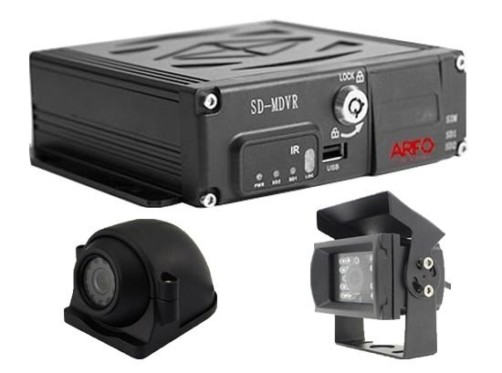KIT MDVR MV-SD1101 ARFO AUTOMOTIVO/VEICULAR 4CH, 720P ,4G, WIFI, GPS, SLOT DE 2 CARTÃO SD 120GB + 1 CAM LATERAL + 1 CAM TRASEIRA