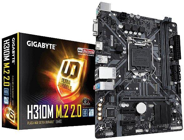 PLACA MÃE  GIGABYTE, H310M M.2 2.0, 1151, 8TH E 9TH, 2 SLOT DDR4
