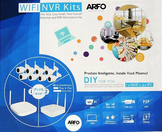 KIT NVR ARFO SMART DIY (INSTALE VOCE MESMO), AR-2008pg1w, 9 Canais (8 Canais Wireless (wifi) /Ip cabo + 1 Ip cabo), Com 6 Câmeras Wireless S100W Ir-30mt + 2 Câmeras S200W