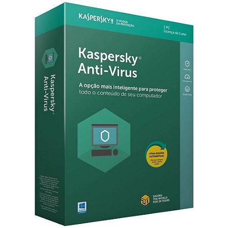 Kaspersky Anti-Vírus 2021 - Licença - 01 PC - 01 Ano