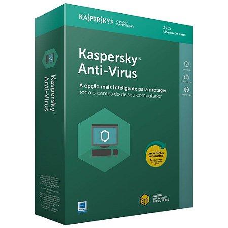 Kaspersky Anti-Vírus 2020 - Licença - 03 PCs - 01 Ano