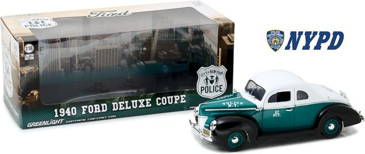 1940 FORD DELUXE COUPE NEW YORK CITY POLICE 1/18