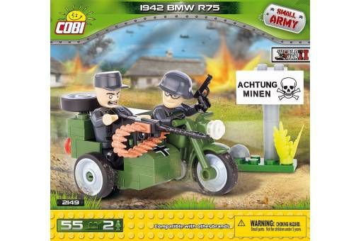 MOTO MILITAR BMW R75 1942 BLOCOS PARA MONTAR COM 55 PÇS