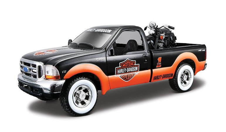 1999 FORD F-350 SUPER DUTY 1/27 + MOTO HARLEY EL KNUCKLEHEAD 1/24