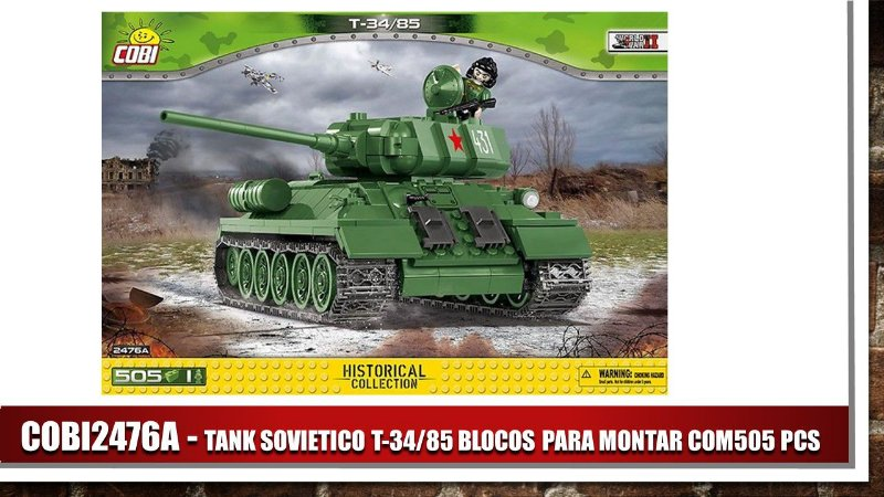TANK SOVIETICO T-34/85 BLOCOS PARA MONTAR COM505 PCS