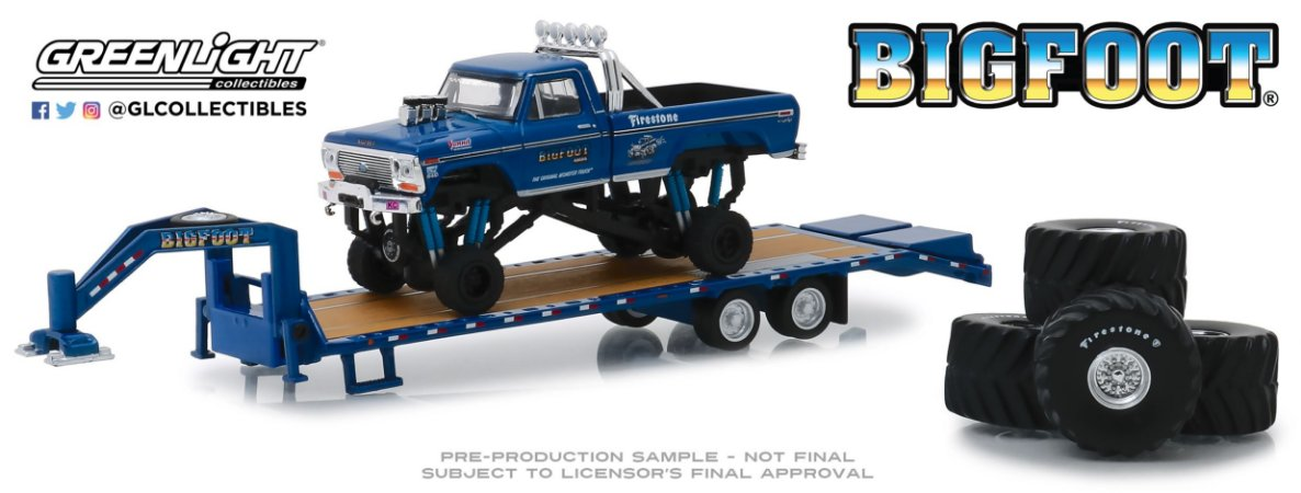 1974 FORD F-250 MONSTER TRUCK BIG FOOT + TRAILER PRANCHA 1/64