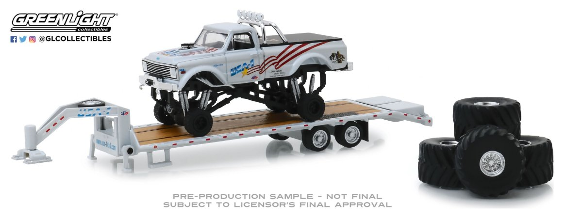 1:64 1970 CHEVROLET K-10 MONSTER TRUCK COM TRAILER PRANCHA