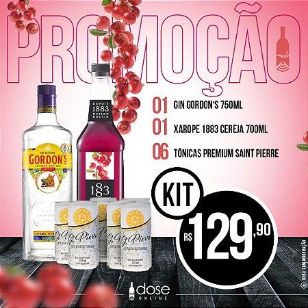 Promoção KIT Gin Gordons 750ml + Xarope 1883 Cereja 700ml + 06Un Tonica Saint Pierre 270ml