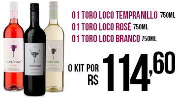 Vinho Toro Loco templanillo 750ml + Branco 750ml + Rose 750ml