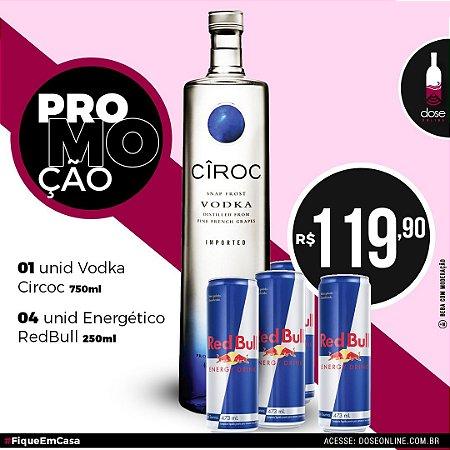 Promoção KIT 01 Vodka Ciroc 750ml + 04 RedBull 250ml