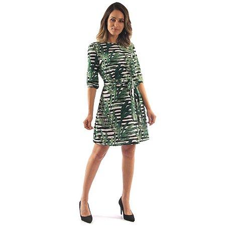 Vestido Kedy Closed Garden Evase Verde Com Laço