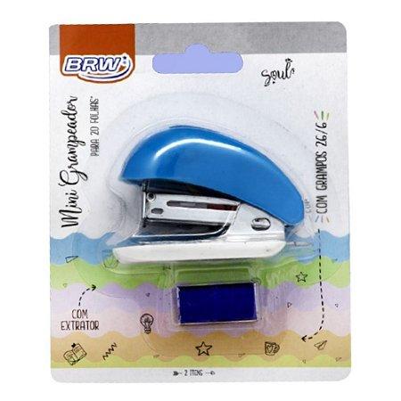 Grampeador Mini Azul p/20 folhas BRW GP0106