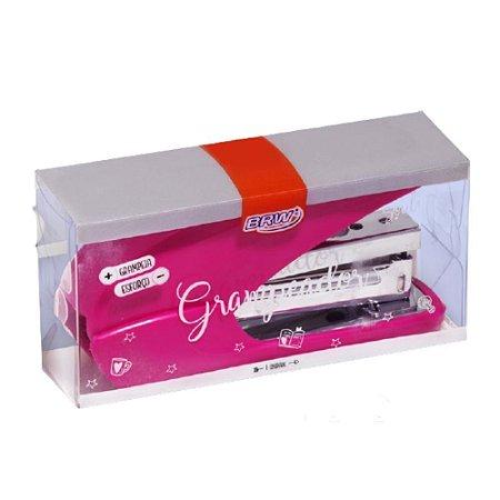 Grampeador Power Saver p/25fls Rosa BRW GP0201