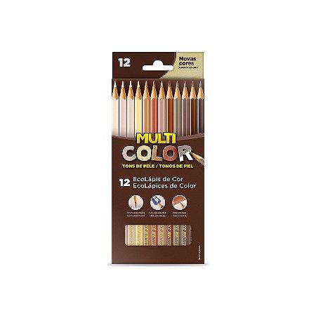 Lápis de cor Multicolor Super 12 Cores Tons de Pele