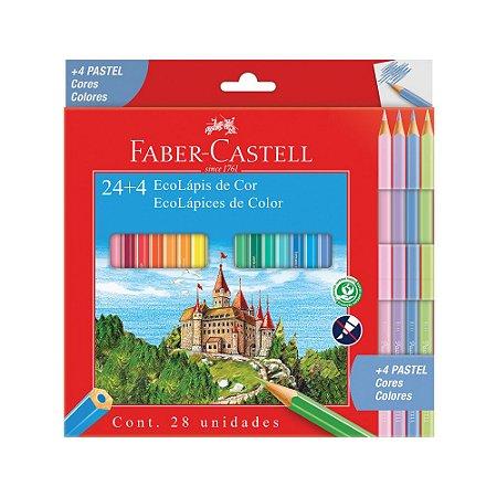 Lápis de Cor 24 cores + 4 pastel Faber-Castell