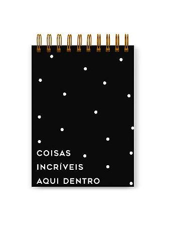 Bloco de Notas Preto Dots 90g 100 folhas